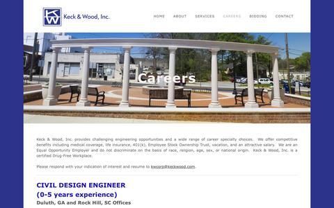Screenshot of Jobs Page keckwood.com - Careers - Keck & Wood, Inc. - captured Nov. 27, 2016
