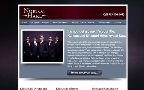 Screenshot of Home Page nortonhare.com - Norton Hare | Kansas & Missouri Attorneys at Law 913-906-9633 - captured Sept. 30, 2014