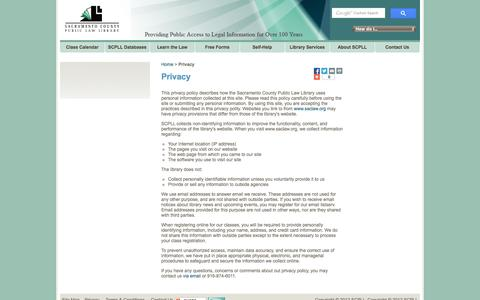 Screenshot of Privacy Page saclaw.org - Privacy - captured Nov. 5, 2014