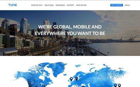 Screenshot of Locations Page tune.com - Reach us at any of our global offices | TUNE - captured Aug. 9, 2016