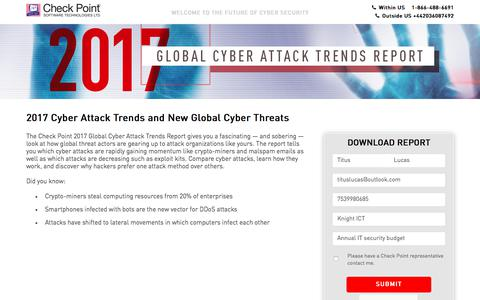 Screenshot of Landing Page checkpoint.com - Global Threat Intelligence Trend Report for 2017 H2 | Check Point Software - captured May 12, 2018