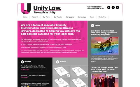 Screenshot of Home Page unity-law.co.uk - Welcome to Unity Law - Unity Law - captured Jan. 10, 2016