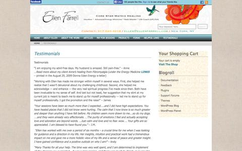 Screenshot of Testimonials Page ellenfarrell.com - Ellen Farrell | Core Star Matrix Healing ~ Intuitive ~  Advanced Energy Medicine ~ Reiki Master ~ Life Coach (LPC/GA) - captured Oct. 2, 2014