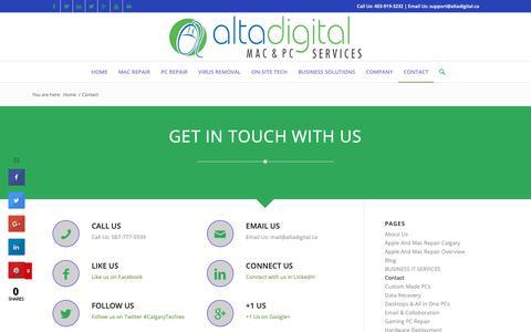 Screenshot of Contact Page altadigital.ca - Contact to Altadigital - captured Dec. 18, 2018