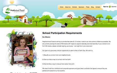 Screenshot of Signup Page neighborhoodforest.org - School Participation Requirements | Neighborhood Forest - captured Sept. 30, 2014