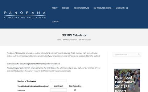 ERP ROI Calculator - Business ERP - Panorama Consulting