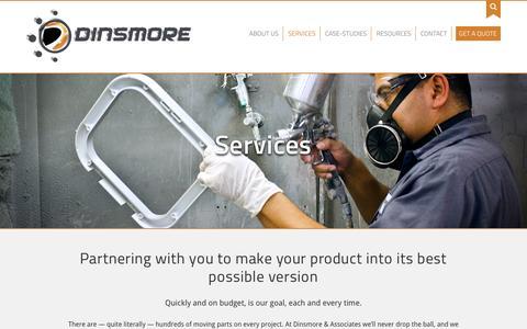 Screenshot of Services Page dinsmoreinc.com - Services - Dinsmore, Inc. - captured Feb. 1, 2016