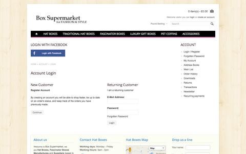 Screenshot of Login Page boxsupermarket.co.uk - Account Login - captured Oct. 5, 2014