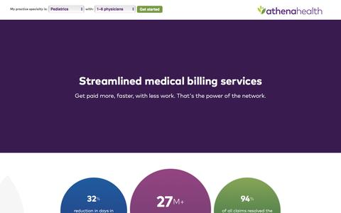 Screenshot of Landing Page athenahealth.com - Medical Billing | athenaCollector | PPC - captured April 9, 2017