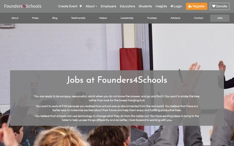 Screenshot of Jobs Page founders4schools.org.uk - Jobs at Founders4Schools | founders4schools - captured Aug. 21, 2018