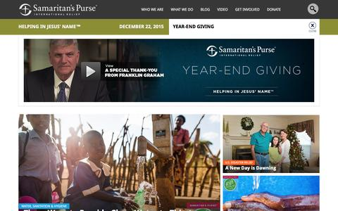 Screenshot of Home Page samaritanspurse.org - Samaritan's Purse — International Relief - captured Dec. 22, 2015