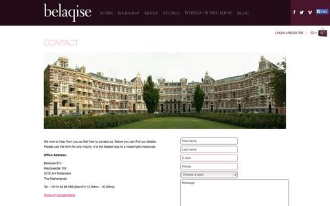 Screenshot of Contact Page belaqise.com - Contact | Belaqise Couture Innovant - captured Sept. 30, 2014