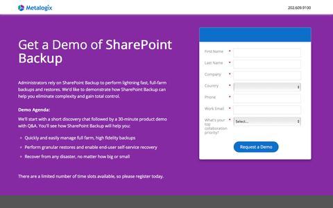 Screenshot of Landing Page metalogix.com - Get a Free Demo of SharePoint Backup | Metalogix - captured July 22, 2018