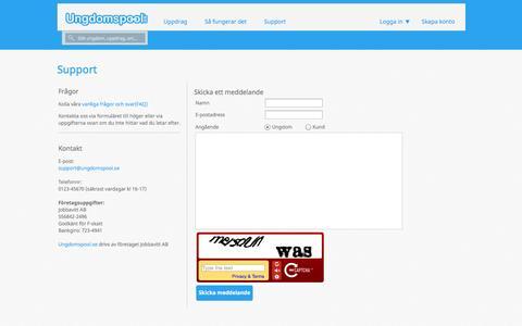 Screenshot of Support Page ungdomspool.se - Ungdomspool.se - Support - captured Oct. 6, 2014