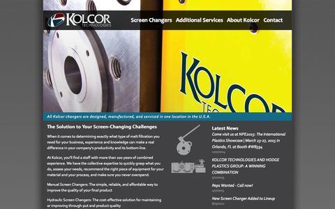Screenshot of Home Page kolcor.com - Kolcor Technologies - captured Sept. 6, 2015