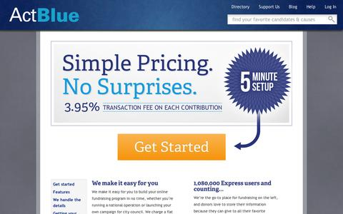 Screenshot of Pricing Page actblue.com - ActBlue — Simple Pricing - captured Sept. 10, 2014