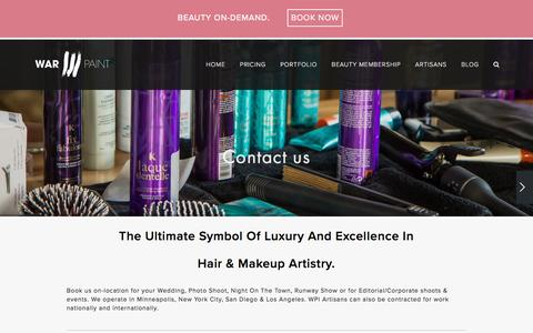 Screenshot of Contact Page warpaintinternational.com - CONTACT — Warpaint International Beauty Agency - captured Nov. 19, 2016