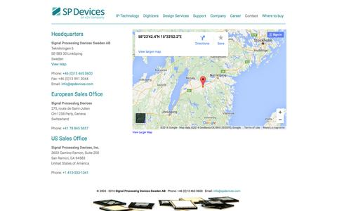 Screenshot of Contact Page spdevices.com - SP Devices - Contact - SP Devices - captured July 4, 2016