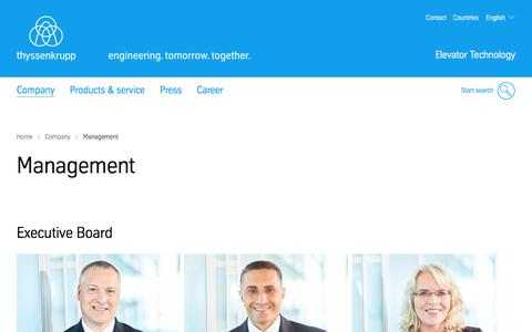 Screenshot of Team Page thyssenkrupp-elevator.com - Management of thyssenkrupp Elevator Technology - captured May 3, 2017