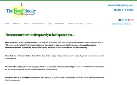 Screenshot of FAQ Page thebusybuddy.com - FAQs - The Busy Buddy - captured Oct. 7, 2014
