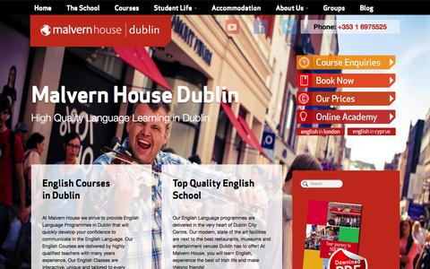 Screenshot of Home Page malvernhouse.ie - English Courses Dublin - Malvern House - captured Sept. 16, 2015