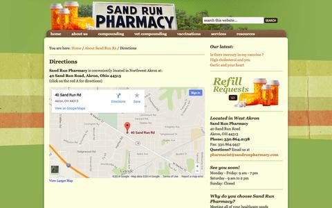 Screenshot of Maps & Directions Page sandrunpharmacy.com - Sand Run Pharmacy - Akron, Ohio - Directions - captured Sept. 30, 2014