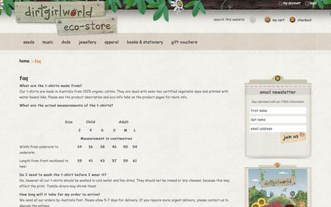 Screenshot of FAQ Page dirtgirlworldshop.com.au - faq - dirtgirlworld eco-store - captured May 22, 2016