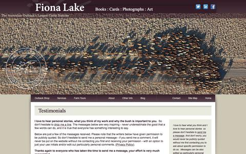 Screenshot of Testimonials Page fionalake.com.au - Australian Coffee Table Books, Outback Cattle Station Photos, Country Landscapes - Fiona Lake - captured June 26, 2017
