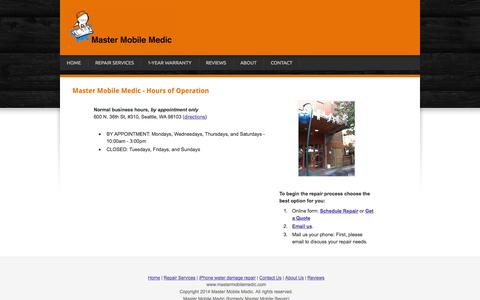 Screenshot of Hours Page mastermobilemedic.com - Hours of operation - iPhone, iPad, Galaxy repair, Seattle's Master Mobile Medic (Master Mobile Repair) - captured Oct. 27, 2014