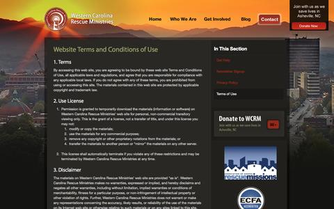 Screenshot of Terms Page westerncarolinarescue.org - Website Terms and Conditions of Use - Western Carolina Rescue Ministry - captured Oct. 9, 2014