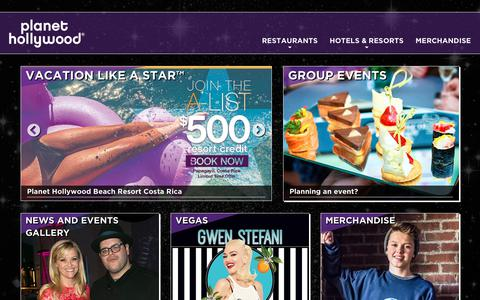 Screenshot of Home Page planethollywoodintl.com - Planet Hollywood | Restaurants, Group Events and Merchandise - captured July 19, 2018