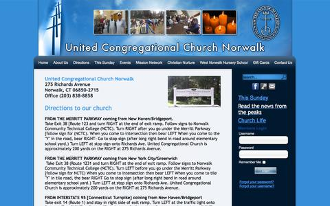 Screenshot of Maps & Directions Page uccnorwalk.com - United Congregational Church, Norwalk  ::  Directions - captured May 24, 2016