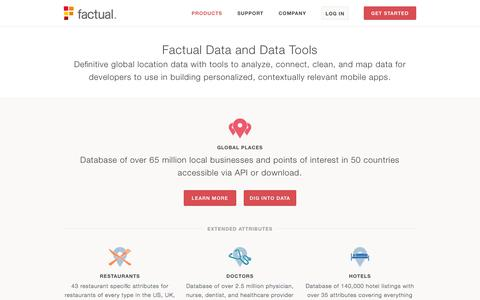 Screenshot of Products Page factual.com - Factual  |  Products - Location Data and Tools for Mobile Apps - captured Sept. 16, 2014