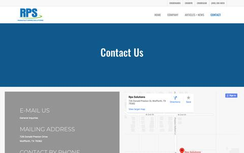 Screenshot of Contact Page rpssolutions.net - Contact - RPS Solutions - captured Nov. 17, 2018