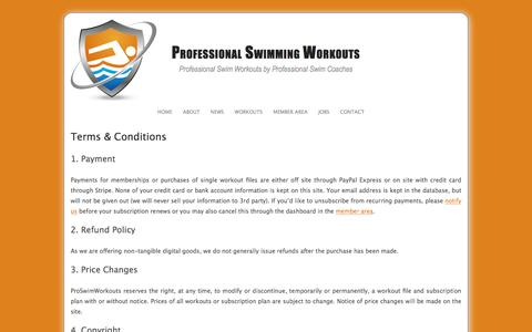 Screenshot of Terms Page proswimworkouts.com - Terms & Conditions - Professional Swimming Workouts - captured July 22, 2018