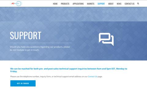 Screenshot of Support Page admetro.com - Support   A D Metro - captured Dec. 7, 2018