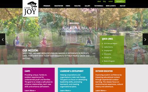 Screenshot of Home Page camp-joy.org - Camp Joy - Home - captured Sept. 27, 2014