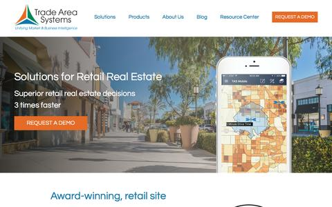Screenshot of Home Page tradeareasystems.com - Trade Area Systems | Solutions for Retail Real Estate - captured Dec. 3, 2016