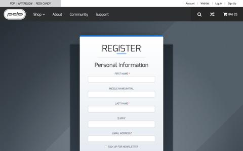 Screenshot of Signup Page pdp.com - Create New Customer Account - captured Sept. 19, 2016