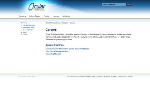 Screenshot of Jobs Page ocutx.com - Careers - captured Sept. 16, 2014