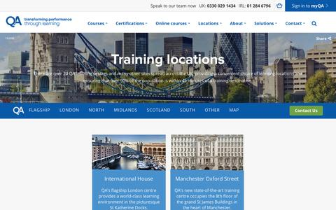 Screenshot of Locations Page qa.com - Training Locations | QA - captured Sept. 28, 2016