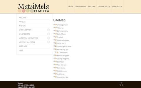 Screenshot of Site Map Page matsimela.co.za - Sitemap - captured Oct. 27, 2014