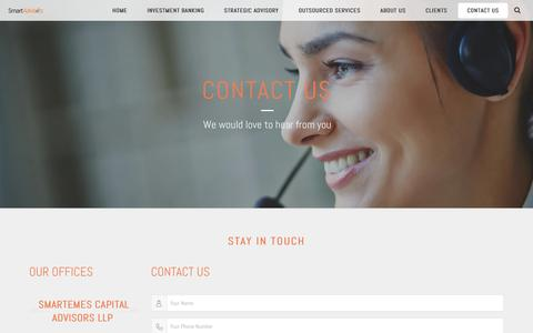 Screenshot of Contact Page smartadvisors.in - CONTACT US - Smart Advisors - captured May 25, 2017