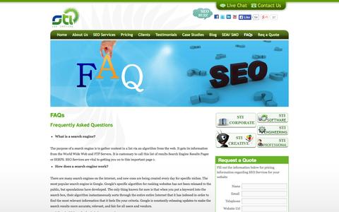 Screenshot of FAQ Page sti-seoservices.com - FAQs   STI-SEOServices - captured Sept. 30, 2014