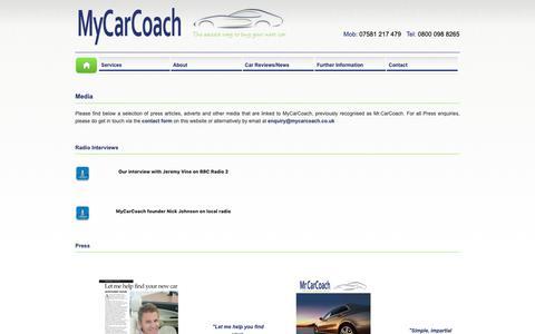 Screenshot of Press Page mycarcoach.co.uk - MyCarCoach - Press - captured Oct. 18, 2018