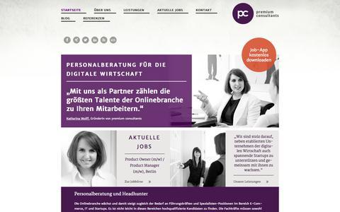 Screenshot of Home Page premium-consultants.de - Personalberatung & HR Consulting | premium consultants - captured Sept. 19, 2014
