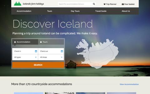 Screenshot of Home Page farmholidays.is - Icelandic Farm Holidays | Tours and Accommodation - captured Feb. 10, 2016
