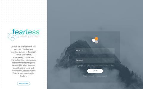Screenshot of Login Page riskalyze.com - Riskalyze - captured June 20, 2019