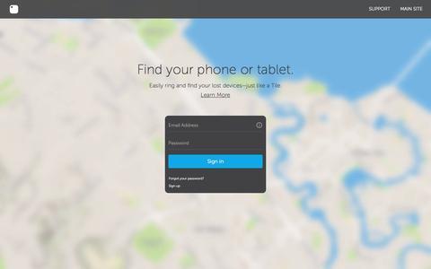 Screenshot of Login Page thetileapp.com - Login - captured Aug. 5, 2016