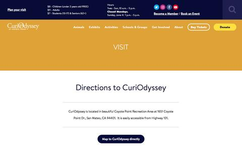 Screenshot of Maps & Directions Page curiodyssey.org - Directions - CuriOdyssey - captured May 24, 2017
